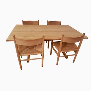 Dining Table with Four Chairs by Hans J. Wegner, 1970s