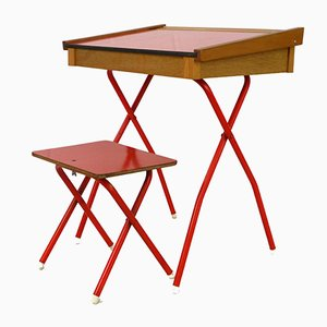 Vintage Red Children's Desk and Stool, 1970s, Set of 2