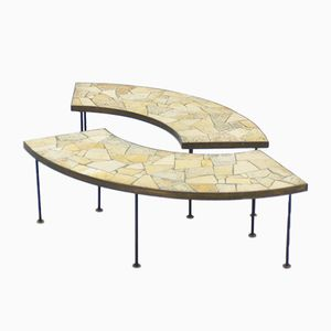 Natural Stone Mosaic Flower Benches, 1950s, Set of 2