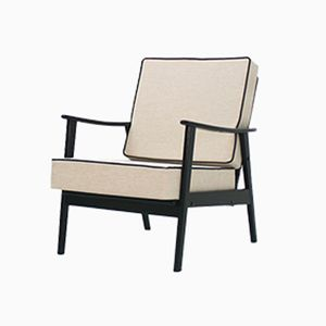 Mid-Century Black and Cream Easy Chair, 1960s