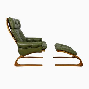 Vintage Norwegian Kengu Lounge Chair and Ottoman by Solheim for Rykken, 1970s
