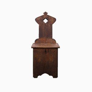 Antiker Gotischer Stuhl mit Aufbewahrung