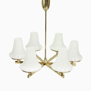 Mid-Century Brass and Opaline Glass Chandelier by Hans-Agne Jakobsson, 1960s