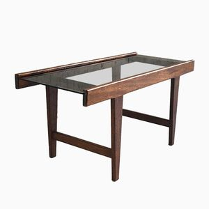 Mid-Century Solid Oak and Glass Coffee Table, 1960s