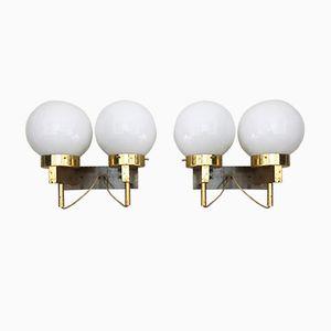 Weiße Mid-Century Opalglas Wandlampen von Stilnovo, 1960er, 2er Set