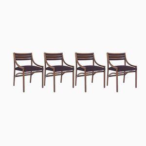 Italienische Nussholz Esszimmerstühle von Ico Parisi für Brugnoli, 1959, 4er Set