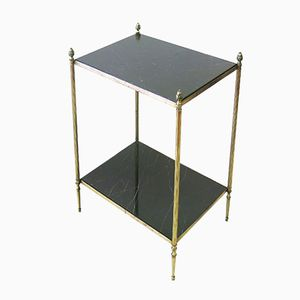 Vintage French Brass and Marble Side Table, 1960s