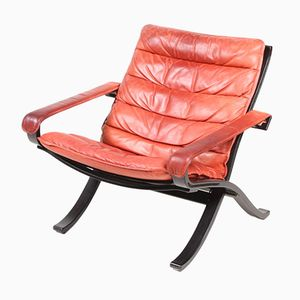 Norwegian Model Relax Leather Lounge Chair by Ingmar Relling for Westnofa, 1960s