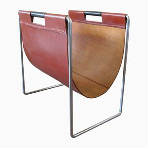 Vintage Saddle Leather Magazine Rack from Brabantia, 1950s
