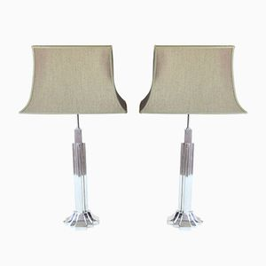 Art Deco Lamps in Silver Brass, 1930s, Set of 2