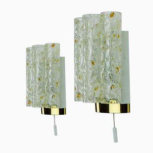 Lampade da parete vintage con 4 tubi in vetro di Doria, set di 2