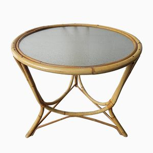 Round Bamboo & Rattan Side Table with Glass Top, 1950s