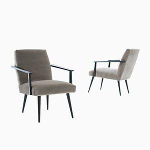 Mid-Century Velvet & Black Lacquer Armchairs, 1950s, Set of 2