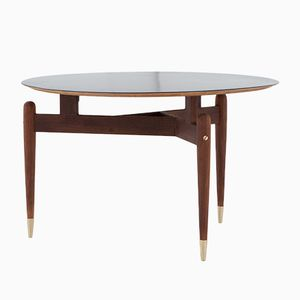 Mid-Century Italian Brass and Rosewood Coffee Table, 1950s
