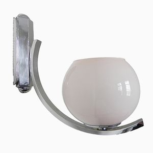 Art Deco Wall Lamp with Round Glass Globe, 1930s