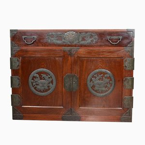 Vintage Korean Camphor Wood Cabinet Sideboard