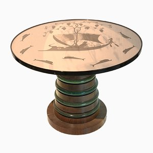 Pedestal Table with Smoked Glass from Fontana Arte, 1930s