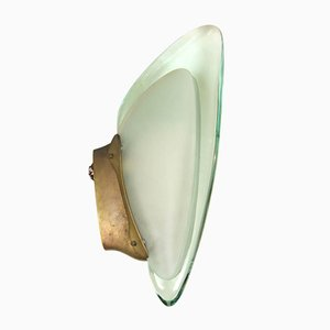 Brass & Glass Wall Light by Max Ingrand for Fontana Arte, 1950s