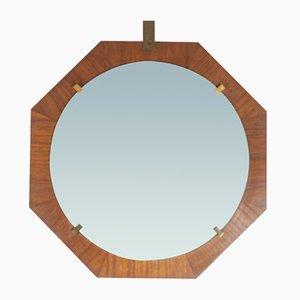 Italian Brass and Teak Wall Mirror, 1960s