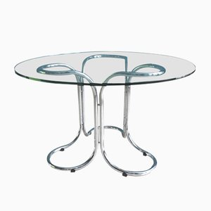 Vintage Glass Table with Chromed Metal Base