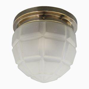 Art Deco Deckenlampe aus Verchromten Messing & Glas, 1930er