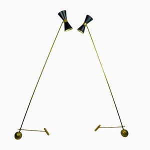 Counterweight Floor Lamps, 1950s, Set of 2