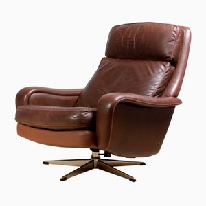 Danish Leather Reclining Swivel Man Cave Chair, 1970s