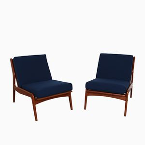 Vintage Danish Teak Low Chairs in Blue Fabric, Set of 2