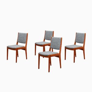 Teak Chairs with Grey Upholstery, 1960s, Set of 4