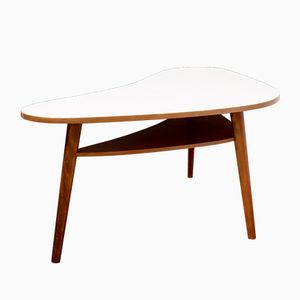 Large Beech Kidney Table with Storage, 1950s