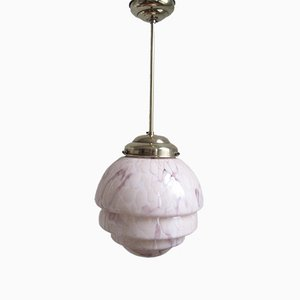 Art Deco Pendant with Stepped Marbled Glass Shade