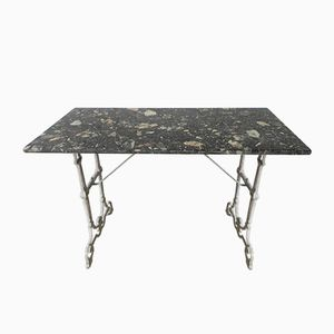 Vintage Bistro Table with Cast Iron Base and Marble Top