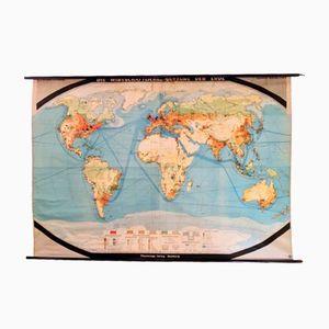 German Vintage Large-Format World Map