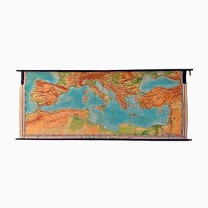 Großformatige Topografische Weltkarte des Mittelmeers, 1953