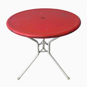 Industrial Garden Table with Red Top