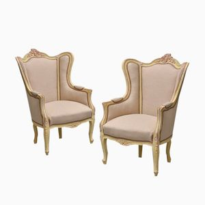 Antique French Bergère Chairs, Set of 2