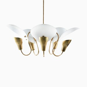 Model 2542 Finnish Chandelier in Brass and Glass from Valinte Oy, 1940s