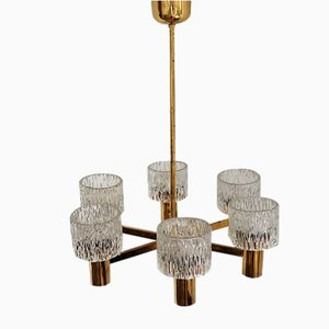 Brass Chandelier by Carl Fagerlund for Orrefors, 1960s