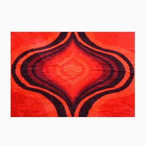 Teppich in Schwarz & Rot, 1960er