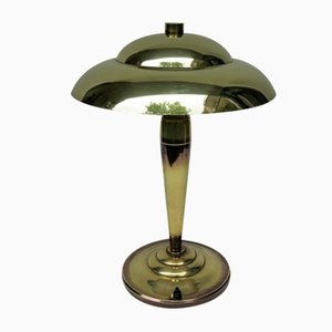 Vintage Art Deco French Table Lamp in Brass