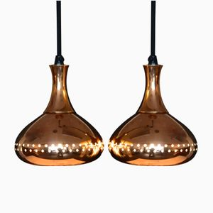 Vintage Pendant Lamps in Copper by Hans-Agne Jakobsson for Markaryd, Set of 2