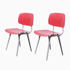 Vintage Red Revolt Chairs by Friso Kramer for Ahrend De Cirkel, Set of 2