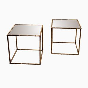 Faux Bamboo Cube Brass Sofa Tables, 1950s, Set of 2