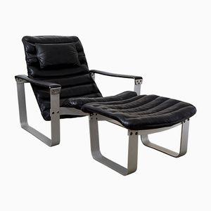 Mid-Century Pulkka Lounge Chair & Ottomane by Ilmari Lappalainen for Asko, 1960s