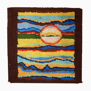 Vintage American Abstract Handmade Hooked Rug, 1980s