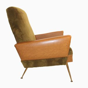 French Angular Armchair in Tan Faux Leather, 1950s