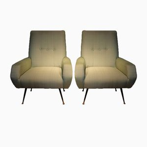 Italian Armchairs in Green Fabric, 1950s, Set of 2
