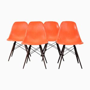 Mid-Century DSW Side Chairs by Charles & Ray Eames for Herman Miller, Set of 4