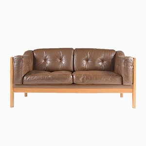 Swedish Monte Carlo Sofa in Oak and Brown Leather by Ingvar Stockum for Futura Möbler, 1965
