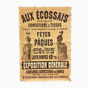 Antique Parisian Poster for Lady's Fashion Fair, 19th Century